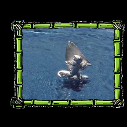 Wind Surfing Gecko  Sterling Silver Pendant