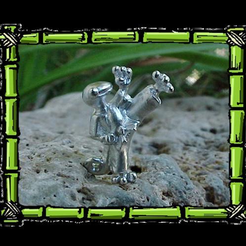 Karate Gecko  Sterling Silver Pendant