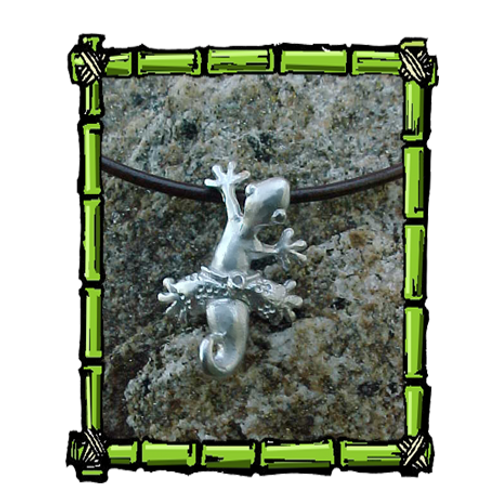 Rockclimber Gecko  Sterling Silver Pendant