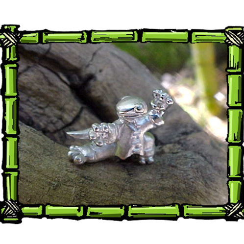 Kung Fu Gecko  Sterling Silver Pendant