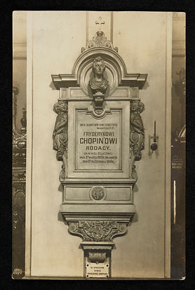Epitaph with urn of Chopin's heart in th