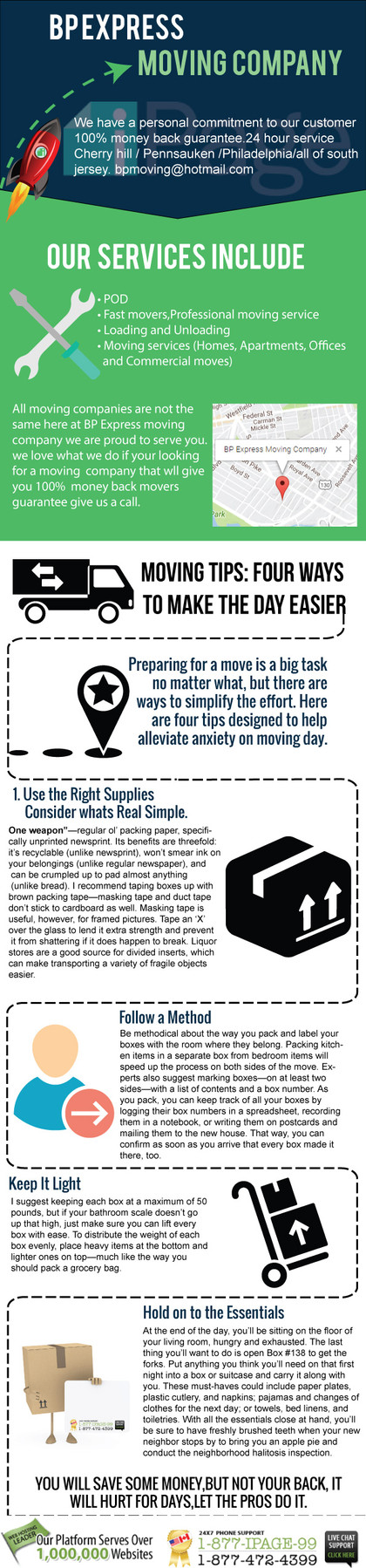 BP Express moving company infographic page