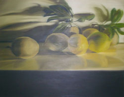 Lemons on table in shadow