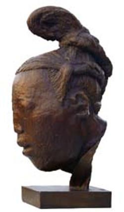 Head sculpture of an attendant
