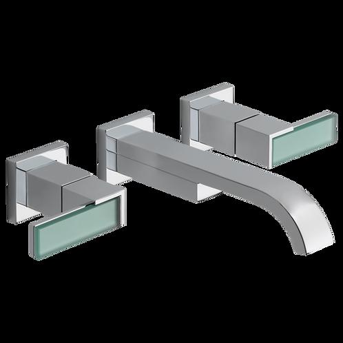 Brizo Siderna Wall Mount Lavatory Faucet Green Glass Handles