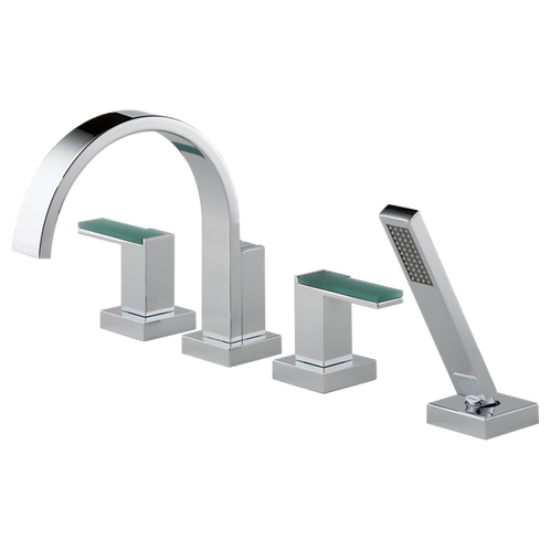 Brizo Siderna Roman Bath Tub Filler Faucet Green Glass Handles