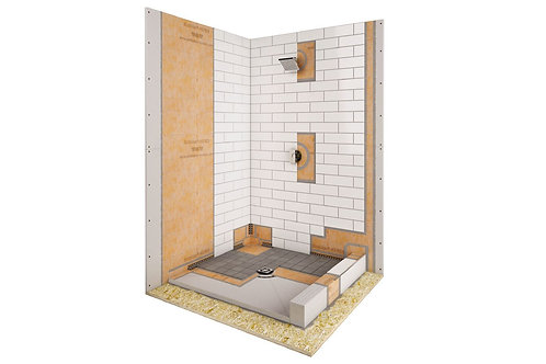 "Schluter Kerdi 60"" x 32"" Center Drain Shower Kit"