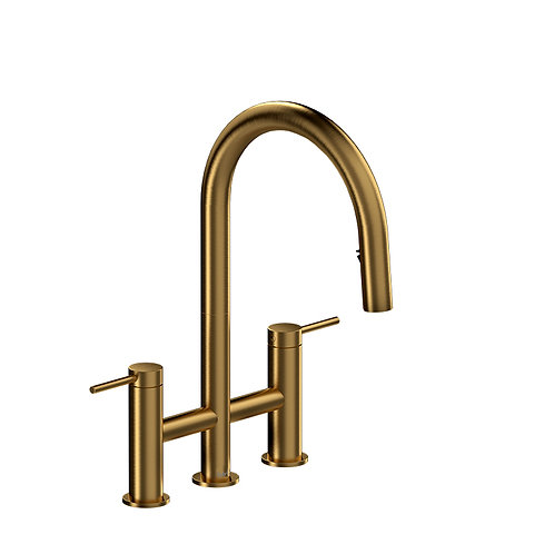 Riobel Azure AZ400BG Kitchen Faucet Bridge Style with Spray Brushed Gold