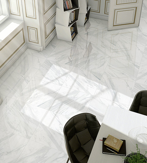 Modern kitchen sinks and faucets - Volakas 24 Quot X 24 Quot Polished Porcelain Tile Flooring