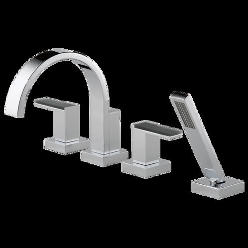 Brizo Siderna Roman Bath Tub Filler Faucet Solar Gray Glass Handles