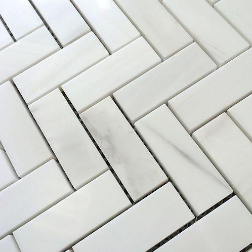"Bianco Dolomiti Marble 1""x2"" Herringbone White Mosaic Tile Polished"