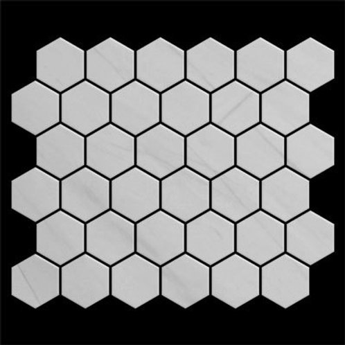 "Bianco Dolomiti Marble 2"" Hexagon White Mosaic Tile Polished"