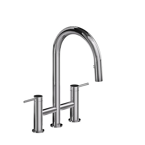Riobel Azure AZ400C Kitchen Faucet Bridge Style with Spray Chrome