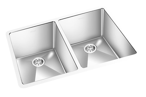 "Square 33""x18""x9"" Double Kitchen Sink Round Corner"