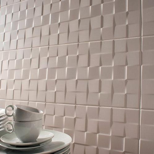 """Ceragres Sun 10""""x30"""" Textured Decor Blanco Cubic Porcelain Tile"""