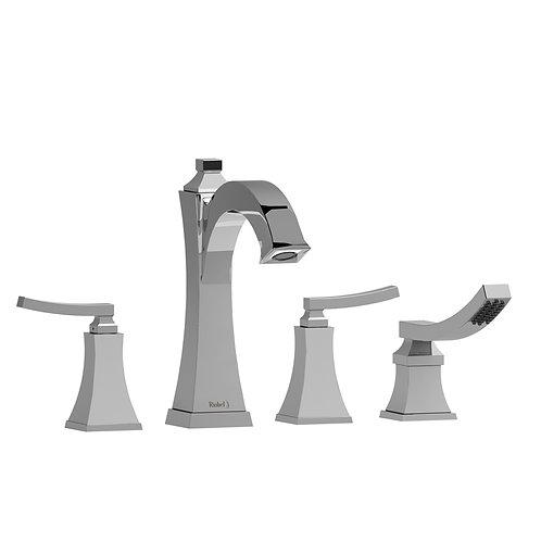 Riobel Eiffel EF12L 4 Piece Deck Mount Bath Tub Filler Faucet with Handshower
