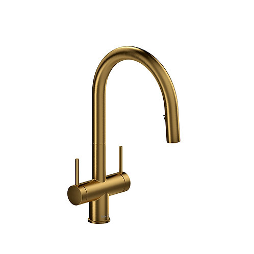 Riobel Azure AZ801BG Kitchen Faucet with 2 Handles with Spray Brushed Gold