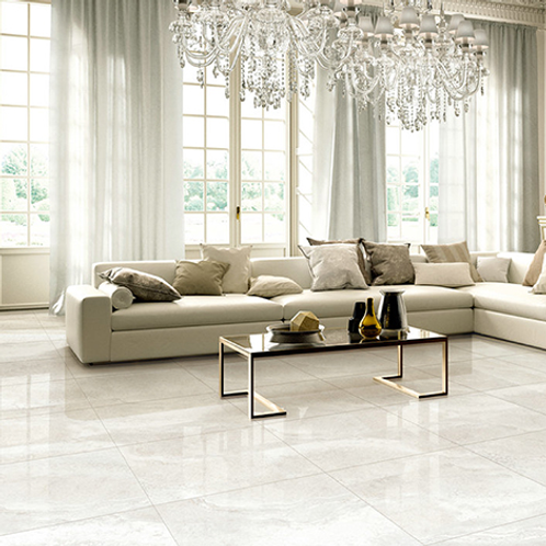 "Aria 12"" x 24"" Light Gray Polished Porcelain Tile"