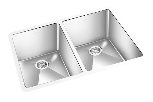 "Square 30.5""x18""x9"" Double Kitchen Sink Round Corner"