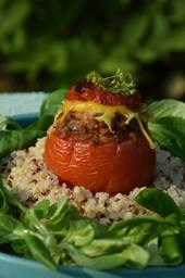 Tomate farcie au seitan roots vegan food