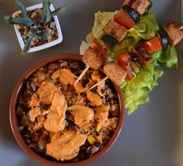 Brochettes de tofu et légumes