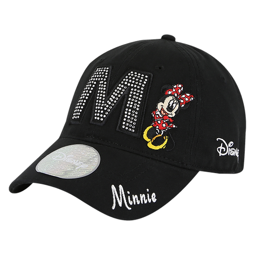 Disney Minnie Mouse 'M' Bling Baseball Cap with Embroidered Logos