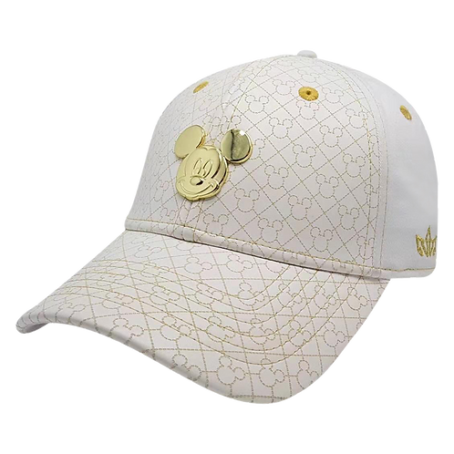 Disney Mickey Mouse White and Gold Cotton Baseball Cap with Embroidered Logo