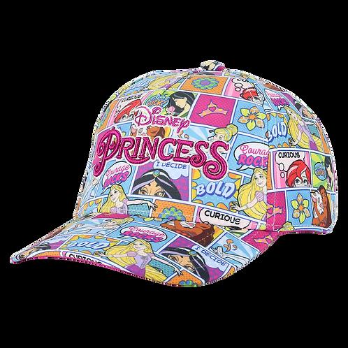 Disney Princesses Comic Book Print Baseball Cap with Floral Bill