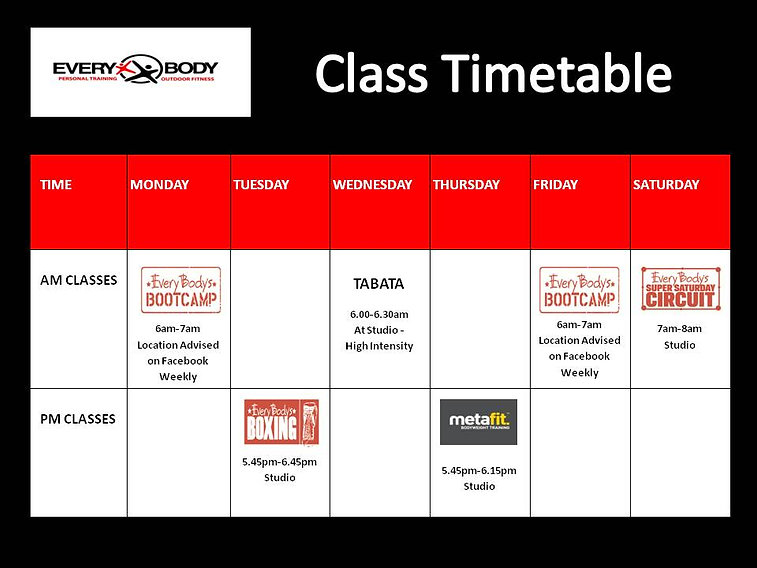 Every Body Personal Training Group Fitness Timetable Port Macquarie