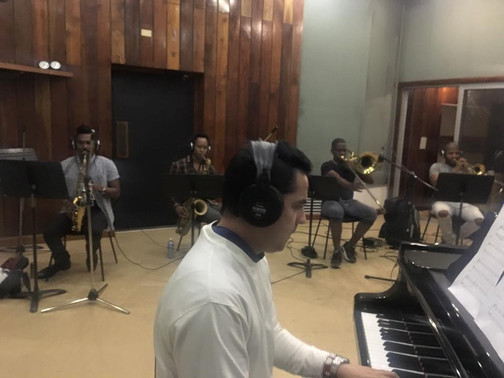 "Photos by Eduardo Sandoval, Recording sessions of the ""Cuban Fires"""