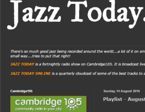 JazzToday broadcasting The Mingus Suite