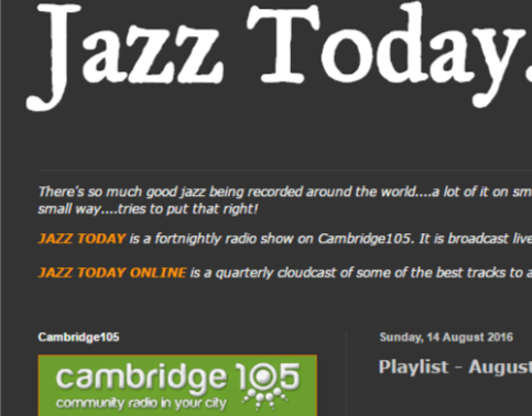 JazzToday broadcasting The Mingus Suite