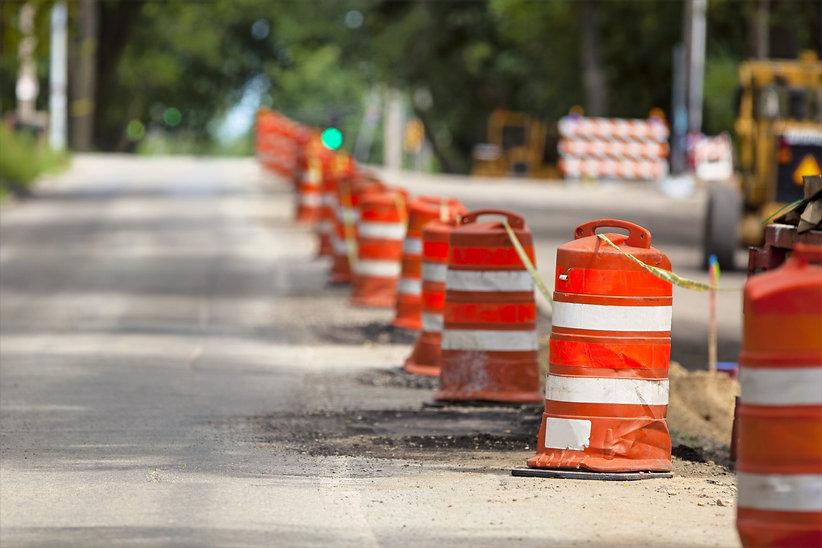 construction cones lining street.jpg