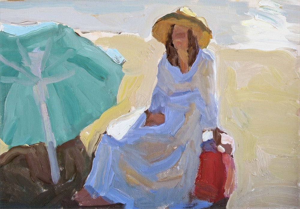 "Peggi Kroll Roberts, ""Quiet Light and Shadow"" oil painting demo - figure in white dress with green umbrella at the beach"