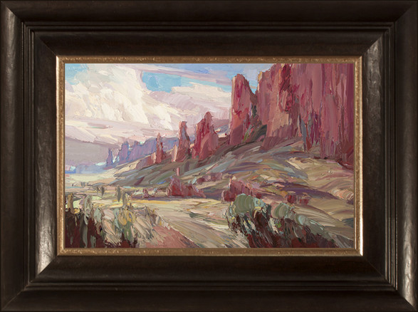 """""""CLOUDS OVER DESERT HUES"""" - - SOLD - Oil painting by Carole Gray-Weihman - Custom Frame made by Alfa Frameo"""