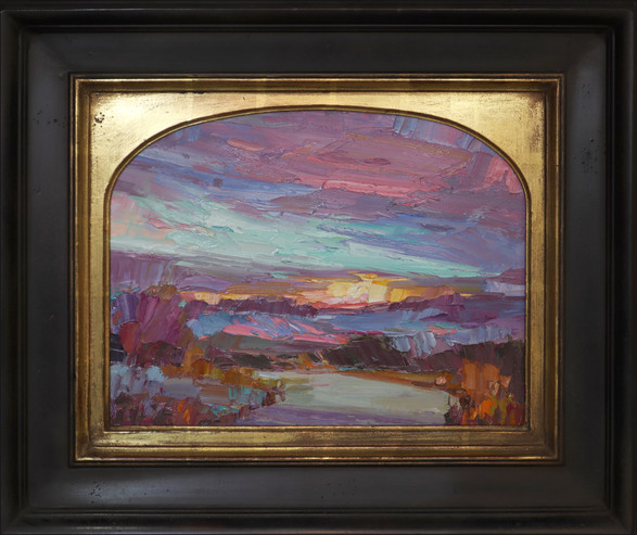 """""""LAST LIGHT"""" - AVAILABLE - Oil painting by Carole Gray-Weihman - Frame by Masterworks Frames"""