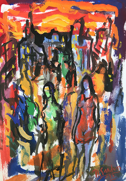 TWO WOMEN - Gouache By David Sandum