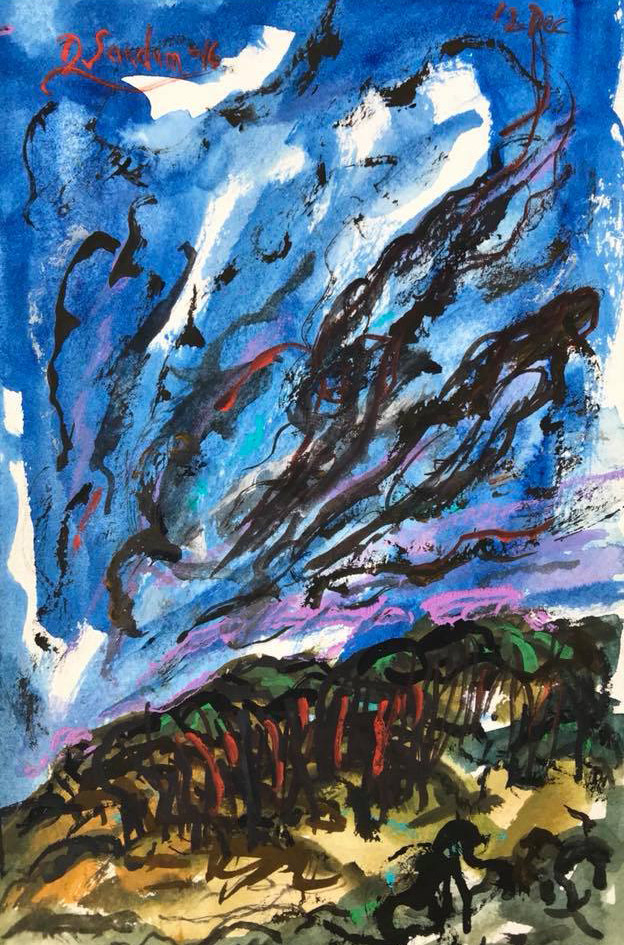 'Up and Down', by David Sandum. Gouache on watercolor paper. 21.6 x 14 cm (8.5 x 5.5 in), 2016