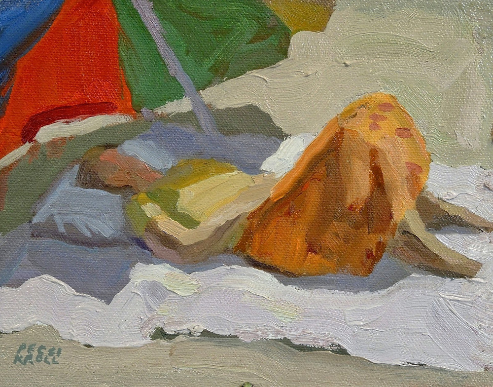 """Beach Slumber"" 6"" x 7 1/2"" Oil on Panel. SOLD"