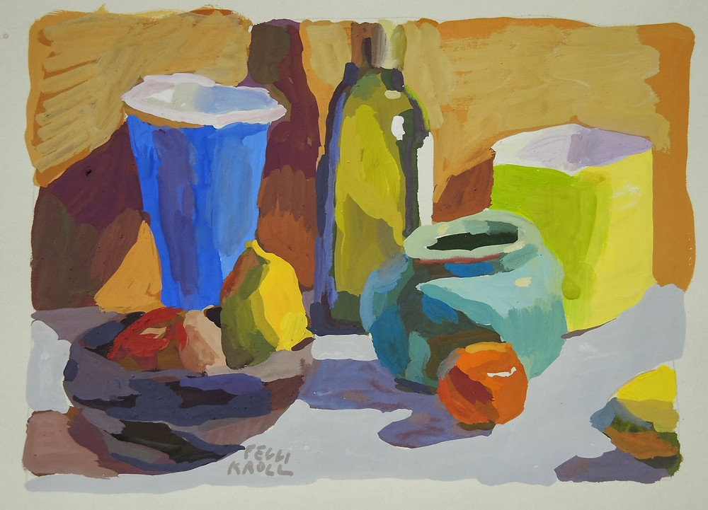 """Arrangement with Olive Oil"" Gouache 5"" x 7"" SOLD"