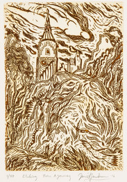 FROM A JOURNEY - SEPIA AND WHITE - DRYPOINT, By David Sandum