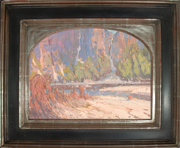 """""""AFTERNOON ON THE AVALANCHE TRAIL"""" - AVAILABLE - Oil painting by Carole Gray-Weihman - Frame by Masterworks Frames"""