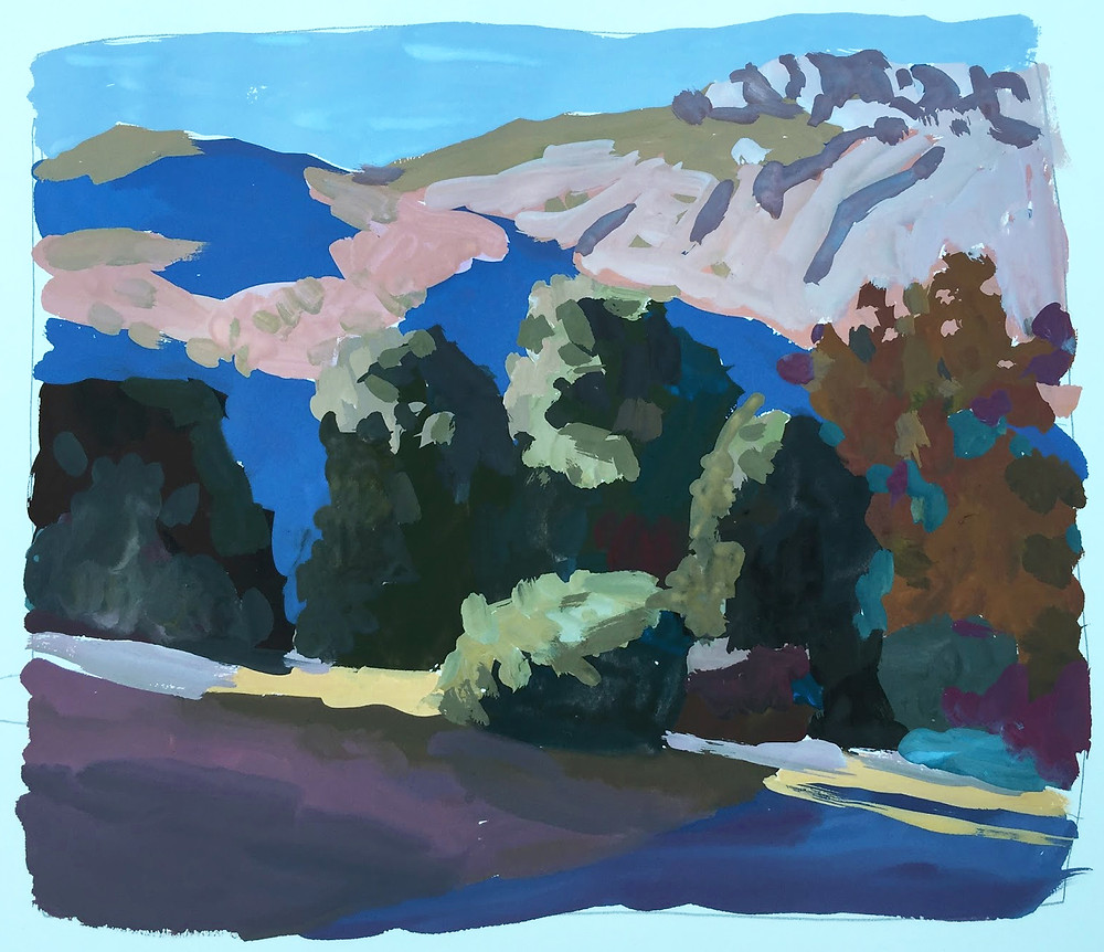 "Peggi Kroll Roberts, Gouache 8"" x 8"", Painted on location in San Diego."