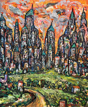 CITY #1, Oil painting By David Sandum
