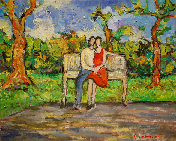 Sunday in the Park, Oil painting by David Sandum