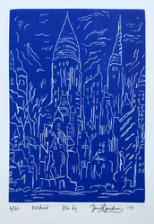 BLUE CITY, DRYPOINT - By David Sandum