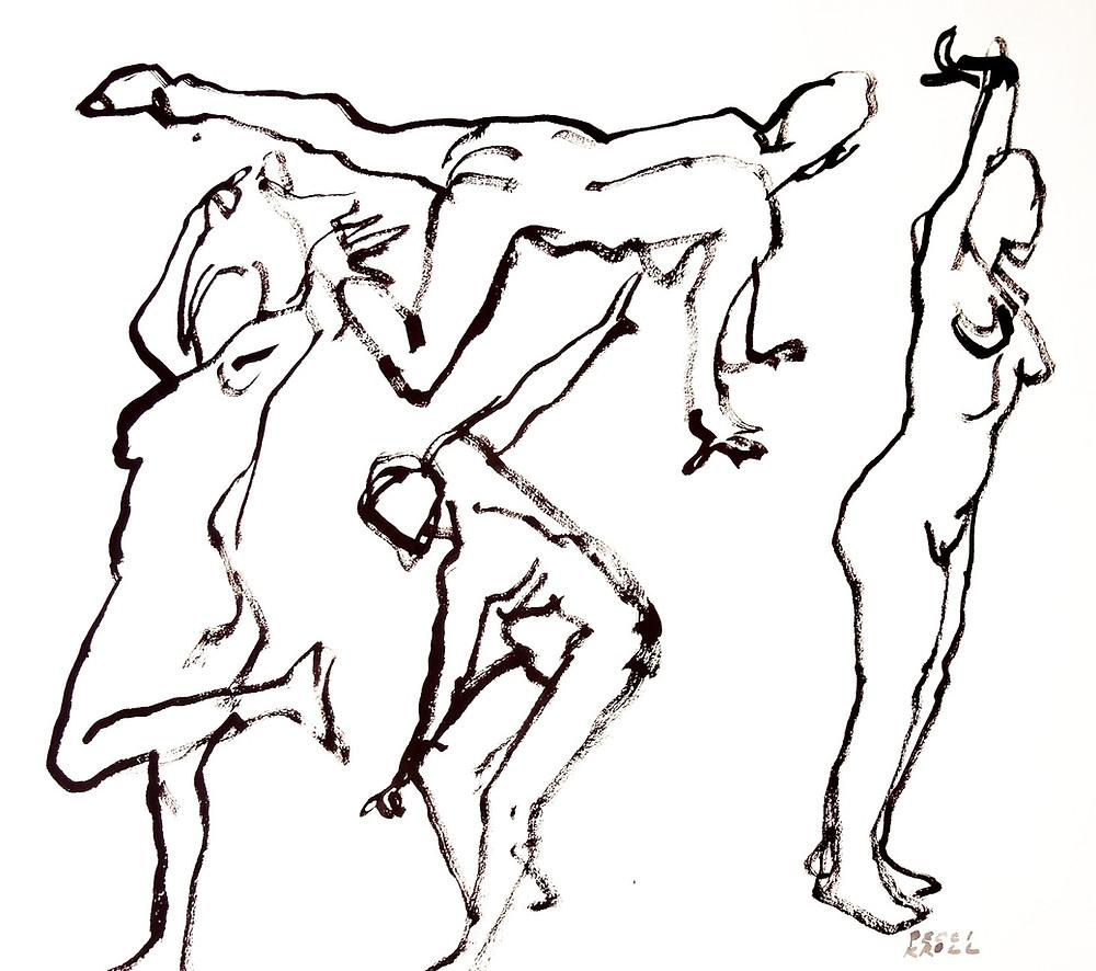 "Peggi Kroll Roberts, 2 minute poses. Gouache, 11"" x 14"""