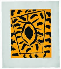 """Peggi Kroll Roberts , """"Just fun!"""" Abstract black and yellow painting at the museum."""