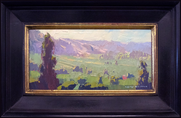 """""""PANORAMA DAZE"""" - AVAILABLE - Oil painting by Carole Gray-Weihman - Frame by Masterworks Frames"""