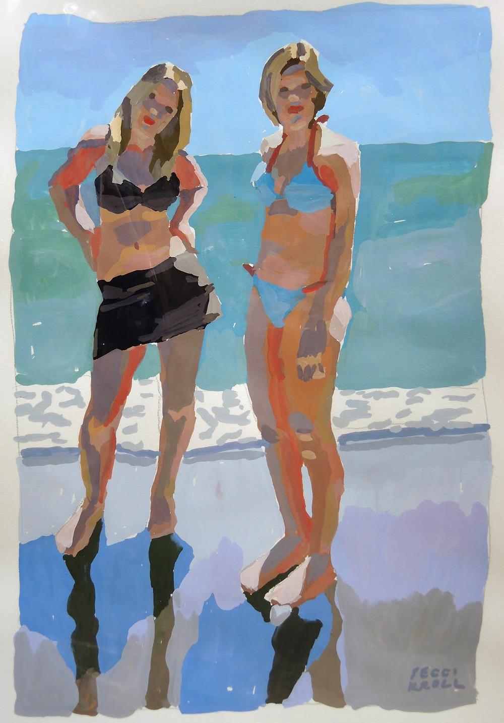 Peggi Kroll Roberts, gouache, figures on a beach